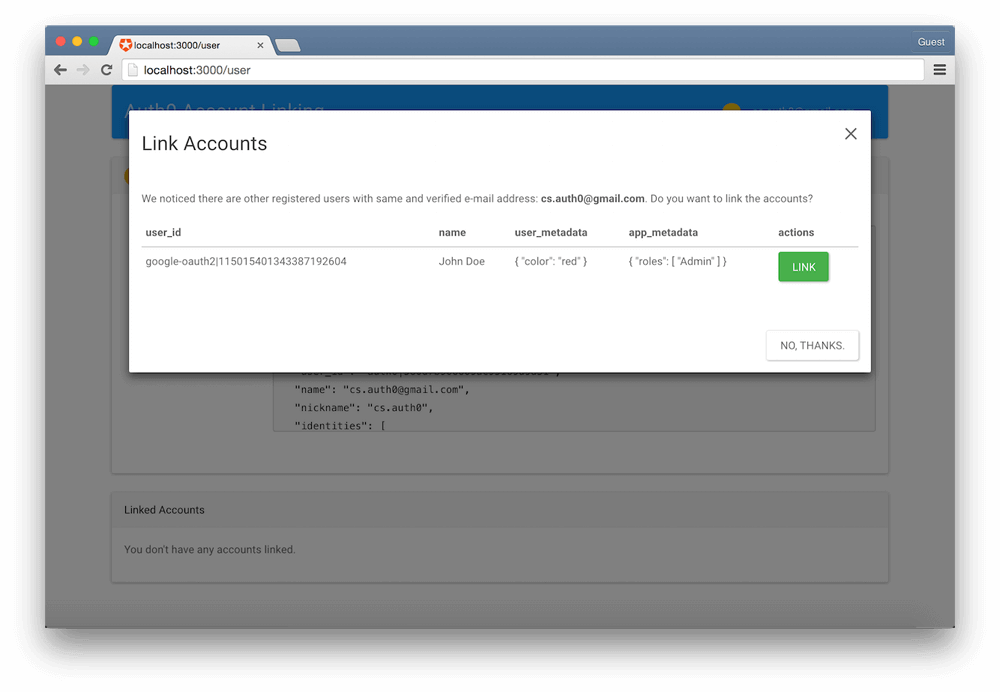 Linking User Accounts
