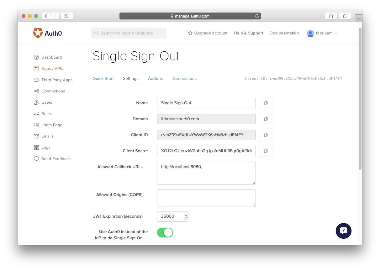 Single Sign-Out Screen