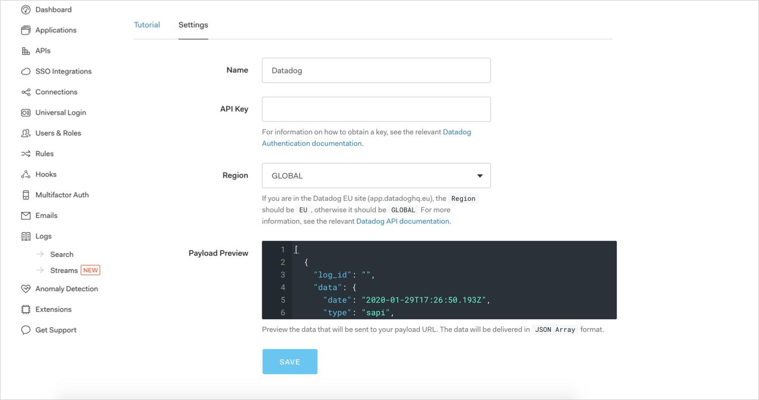 Datadog Settings Form