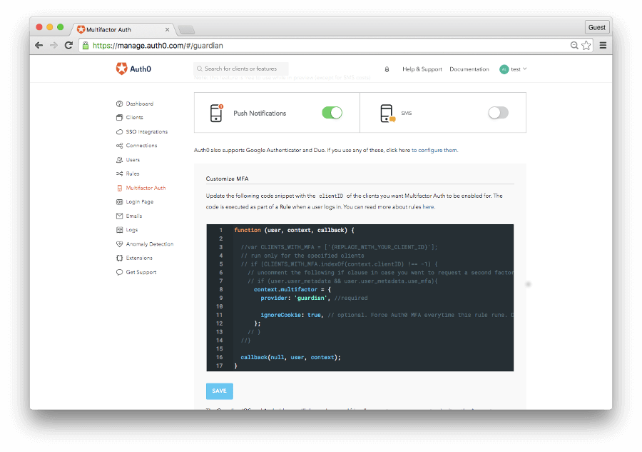 dashboard MFA with push notification enabled
