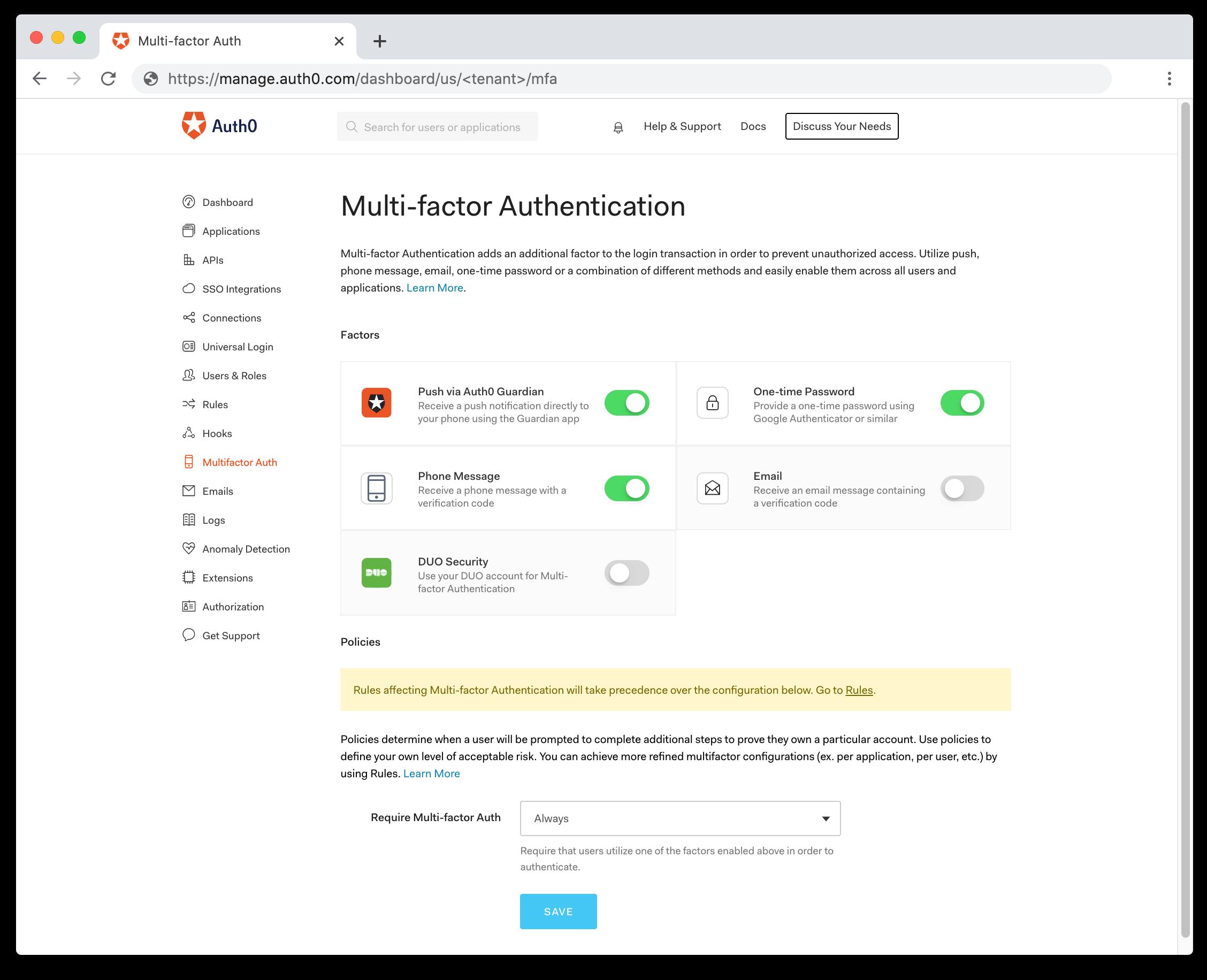MFA Dashboard Page