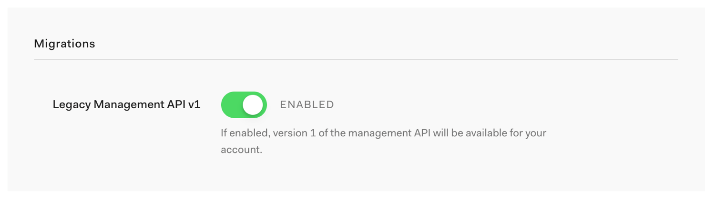 Toggle Management API Version