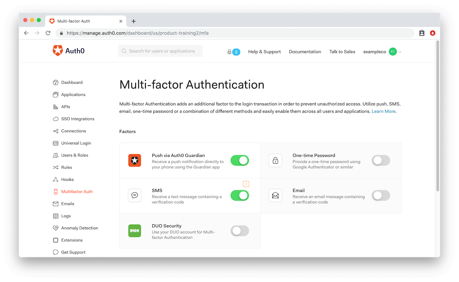 Auth0 Multi-Factor Authentication dashboard with different factors to enable