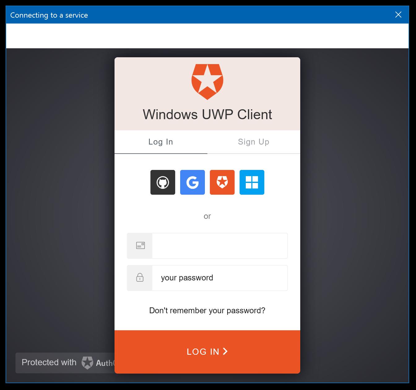 Auth0 Windows Universal App C# SDK Quickstarts: Login