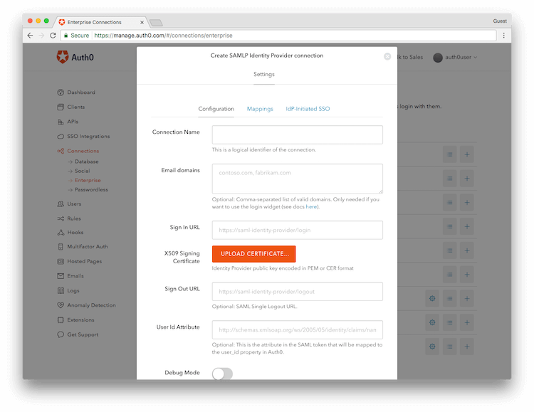 Configure New Auth0 Connection