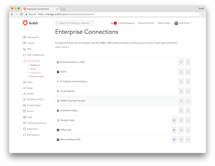 List of Auth0 Connections