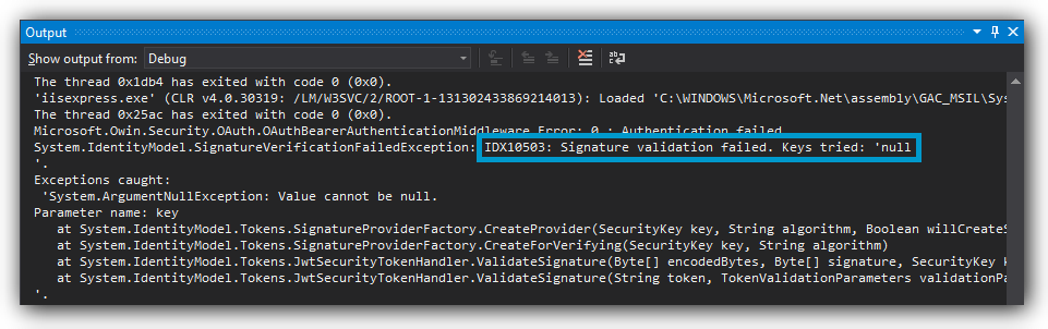 Wrong Signature Configured