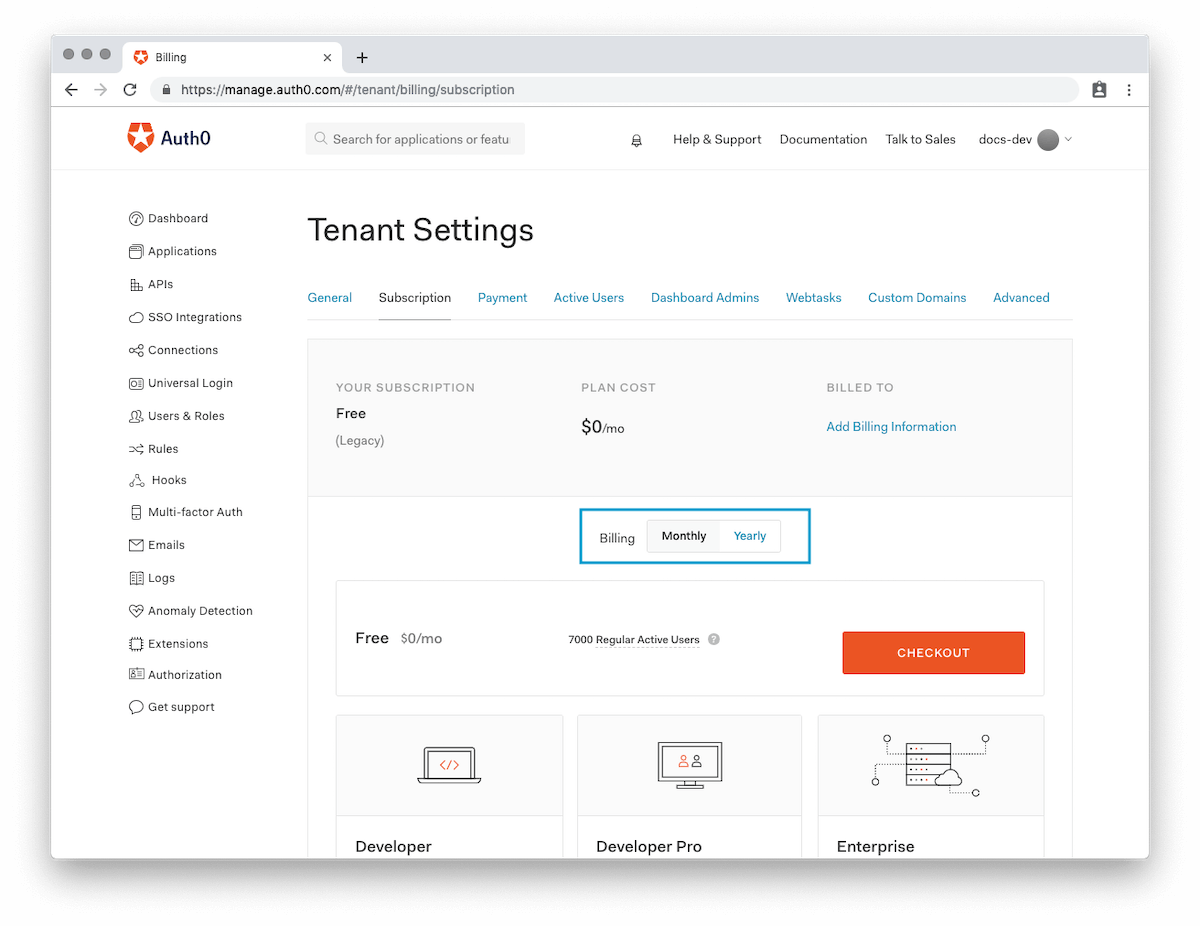 Change or Upgrade Your Auth0 Subscription