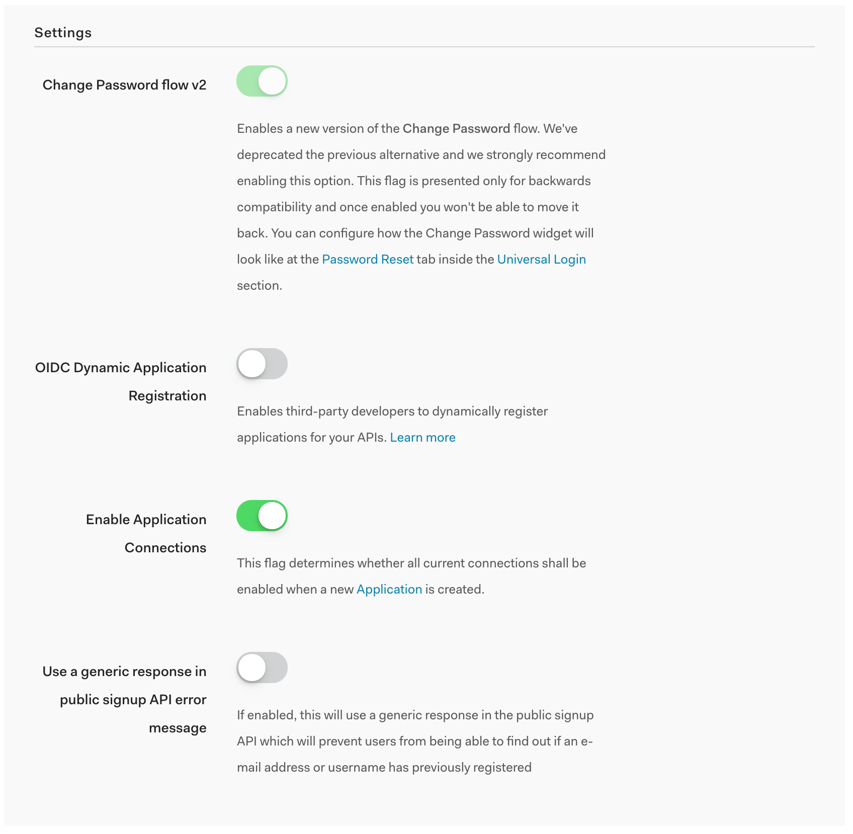 Tenant Settings in the Auth0 Dashboard