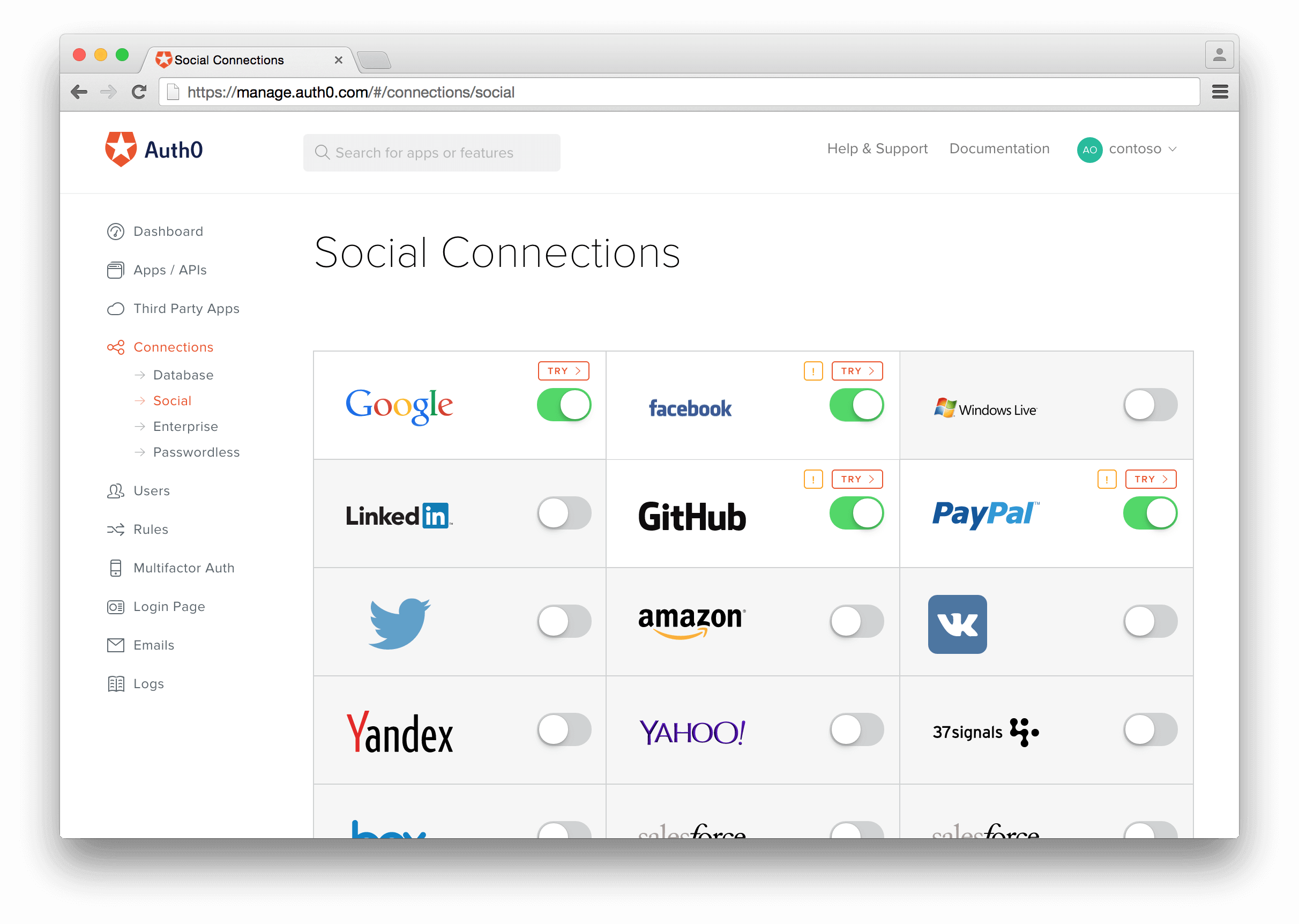 Create a Social Connection for authentication