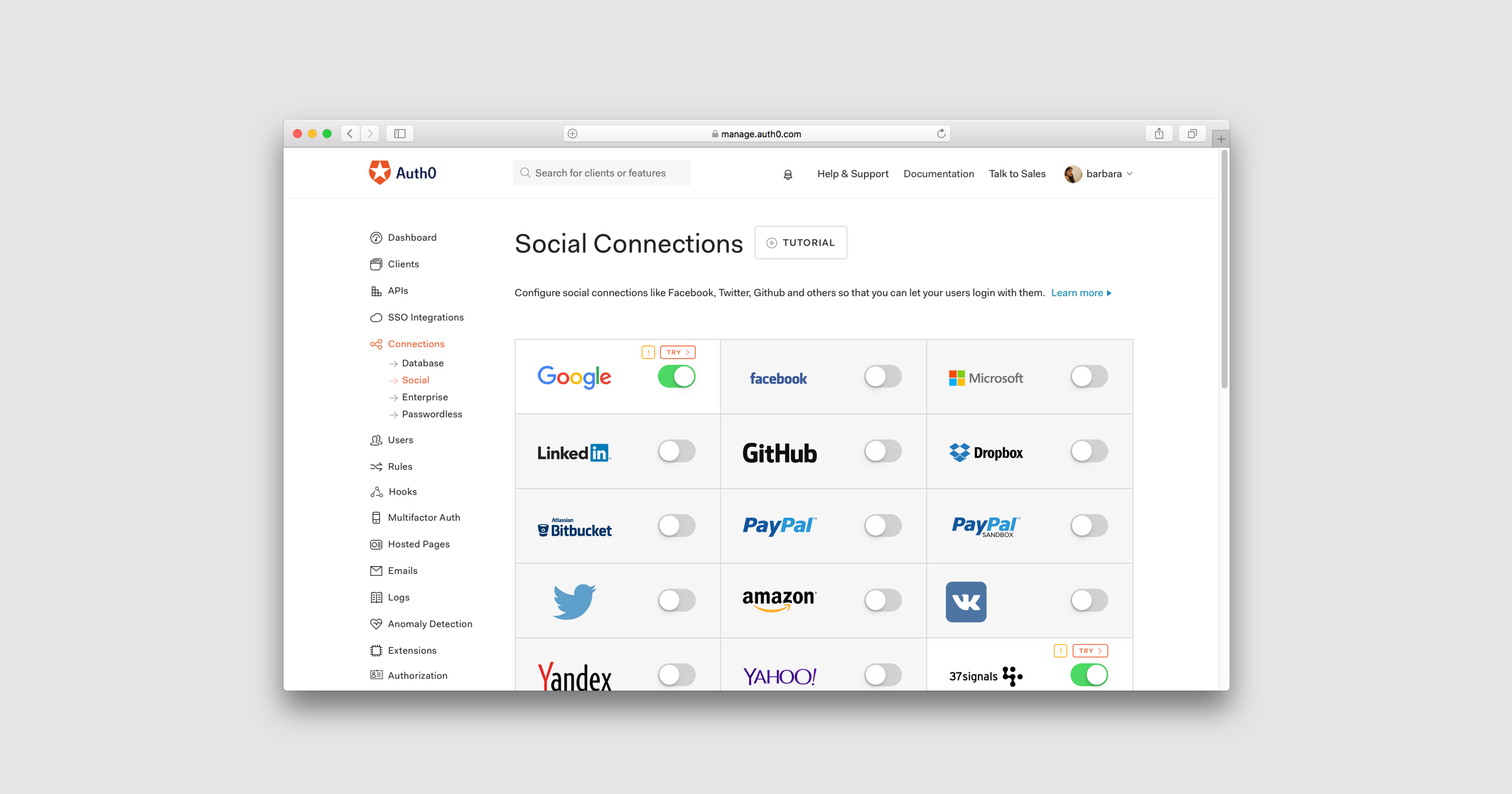 Auth0 supports over 30 social providers, including Facebook, Twitter, Google, and PayPal.