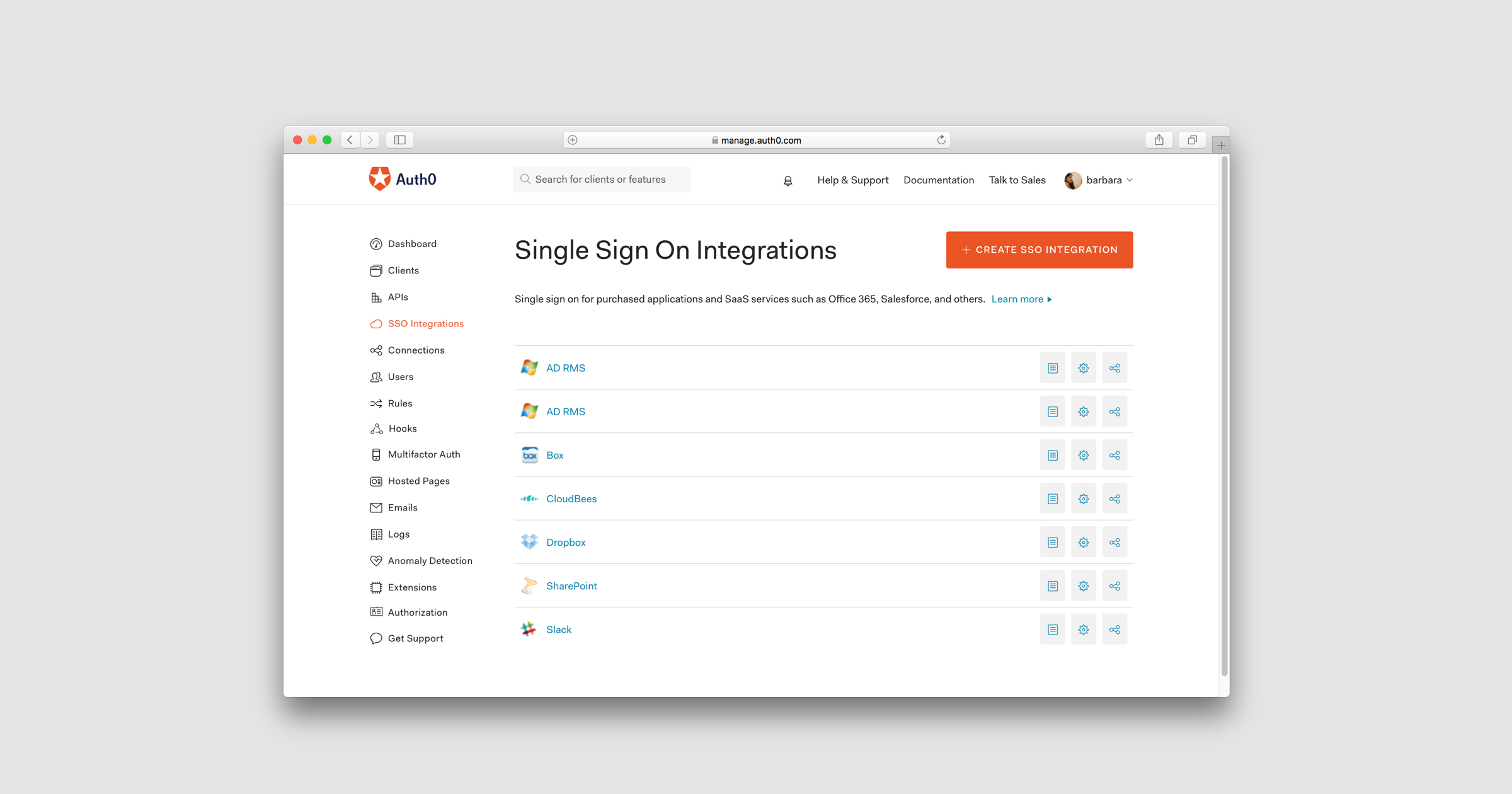 Single sign on integrations